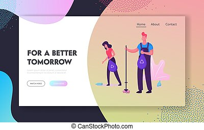 Volunteers Clean Up Wastes Website Landing Page. People Collecting Trash to Bags with Recycling Sign on Nature. Pollution, Ecology Protection Concept Web Page Banner. Cartoon Flat Vector Illustration