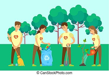Volunteers Cleaning Environment and Growing Tree