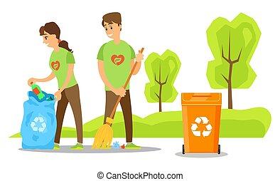 Volunteers Cleaning Environment in Park Vector