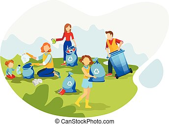 Volunteers cleaning up environment flat illustration