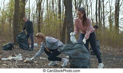 Volunteers collecting garbage in park - Young volunteers ...