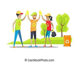 Volunteers Giving High-Five Vector Illustration