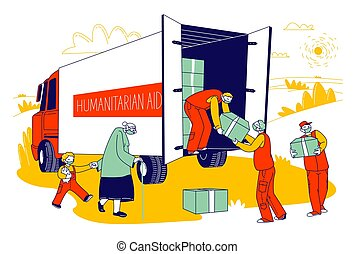 Volunteers in Humanitarian Aid Van Giving Help Boxes to People. Governmental Help during Covid 19 Pandemic. Senior Woman with Little Boy Characters Need Material Assistance. Linear Vector Illustration