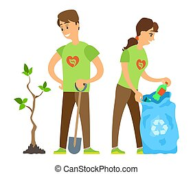 Volunteers Man and Woman, Trash and Tree Vector