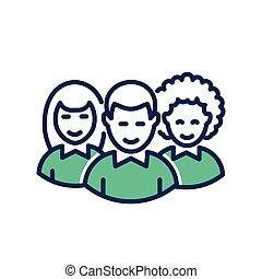 Volunteers - modern vector line icon.