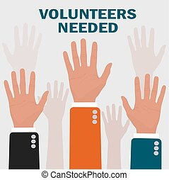 volunteers needed concepts, vector