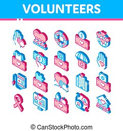 Volunteers Support Vector Isometric Icons Set