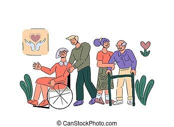 Volunteers take care senior disabled people cartoon vector illustration isolated.