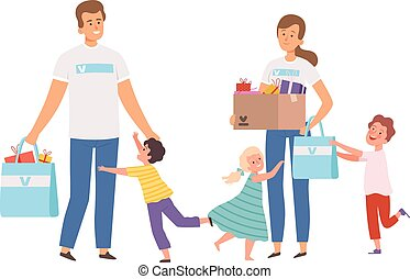 Volunteers visit orphanage. Happy orphans, man woman with donations and presents. Children running hugging male and female characters vector illustration