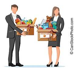 Volunteers with cardboard donation box