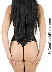 Voluptuous butt in black lingerie and long hair