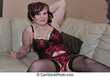 Voluptuous woman in red underwear