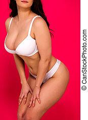 Voluptuous woman in white underwear