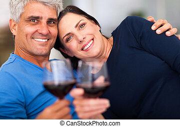 volwassen paar, hebben, goede tijd