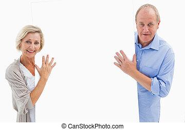 volwassen paar, het glimlachen, en, vasthouden, c