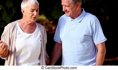volwassen paar, wandelende, hand in hand