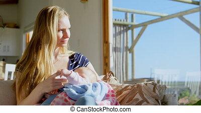 volwassene, fles, melk, haar, huis voorkant, comfortabel, ...