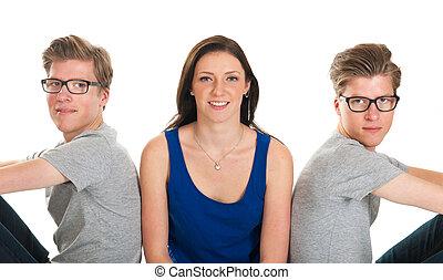 volwassene, mannelijke , tweeling, en, jong meisje