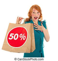 volwassene, vrouw, met, verkoop, zak