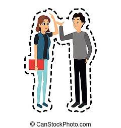 volwassenen, beeld, jonge, gesprek, hebben, pictogram