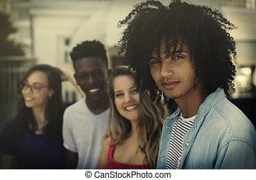volwassenen, generatie, groep, internationaal, y, jonge