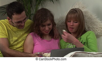 volwassenen, internet, jonge, grasduinen
