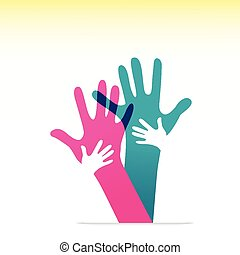 volwassenen, kinderen, samen, handen
