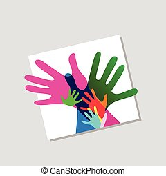 volwassenen, nee, samen, transparantieen, handen, kinderen
