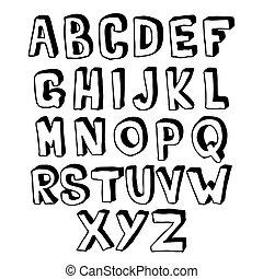 volym, alfabet, vit, svart