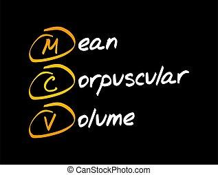 volym, -, medel, corpuscular, mcv, akronym