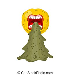 Vomit face emoji. Puke Vector illustration. Retching...
