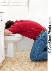 vomitar, em, a, banheiro
