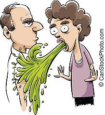 Vomiting on a Man - A cartoon vomit accidentally vomits on a...