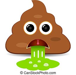 Vomiting poo emoji vector cartoon isolated on white background