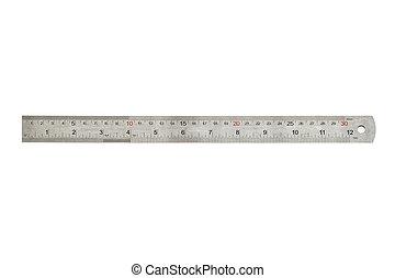 vonalzó, centiméterek, fém, harminc