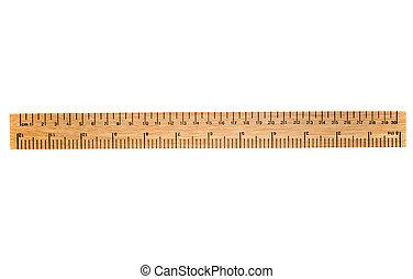 vonalzó, fából való, elszigetelt, fehér, 30, centiméter, háttér.