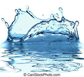 vonken, van, blauw water, op, een, witte achtergrond