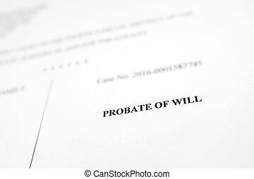vontade, documento, probate, legal