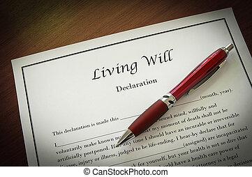 vontade, vivendo, caneta, closeup, documento