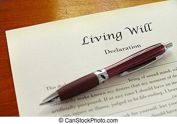vontade, vivendo, caneta, documento, closeup