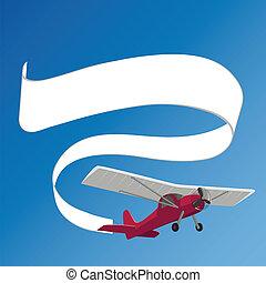 vontatás, fehér, repülőgép, transzparens