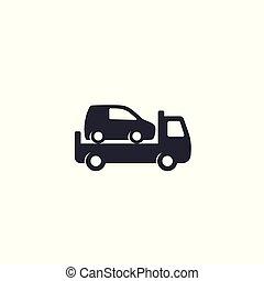 vontatás, ikon, csereüzlet, autó, fehér