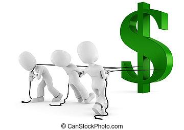 vontatás, jelkép, ember, dollár, 3