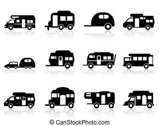 vontatott lakókocsi, jelkép, kempingező, vagy, furgon