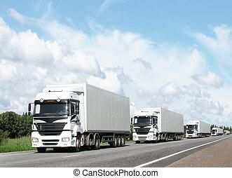vontatott lakókocsi, közül, fehér, csillék, képben látható, autóút, alatt, kék ég