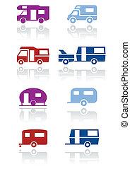 vontatott lakókocsi, vagy, kempingező, jelkép, set.