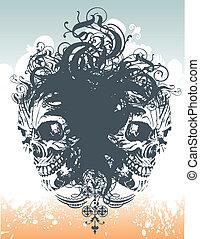 Voodo skull illustration