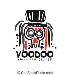 Voodoo African and American magic logo skull with head -...
