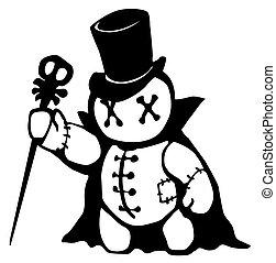 Voodoo Doll Conjurer Stencil - Voodoo doll top hat conjurer ...