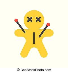 voodoo doll, halloween character set icon, flat design